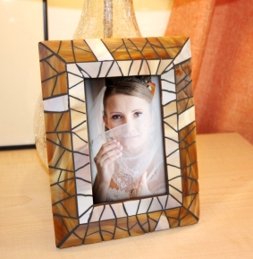 brown stained glass picture frame