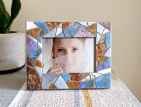 silver blue mosaic picture frame