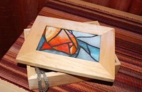 stained glass Poppy Jewelry Box
