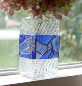 blue stained glass vase