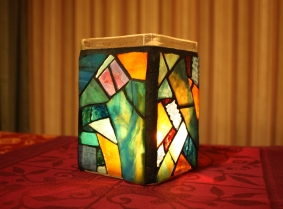 stained glass jar candle holder