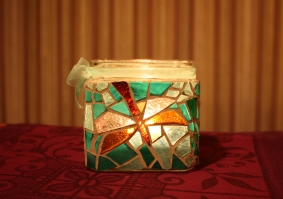 stained glass dragonfly candleholder