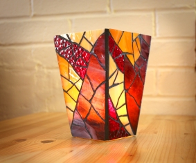 stained glass red vase