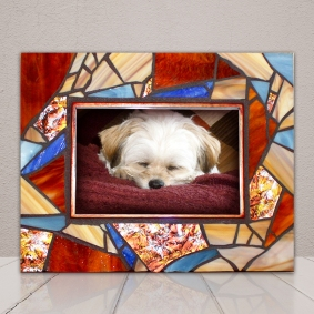 red blue mosaic frame