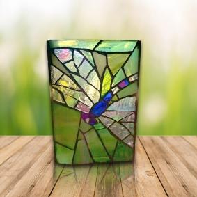 dragonfly mosaic vase
