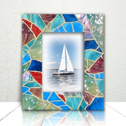 beach glass mosaic frame
