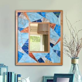 Large blue mosaic mirror