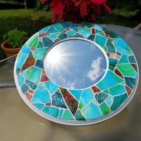 aqua mosaic mirror